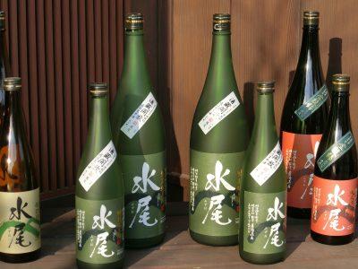 Bottles of sake at Mizuo Brewery, Iiyama